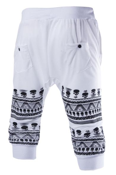 Summer Trendy Skull Geometric Stripe Printed Cotton Casual Sports Sweat Shorts for Men