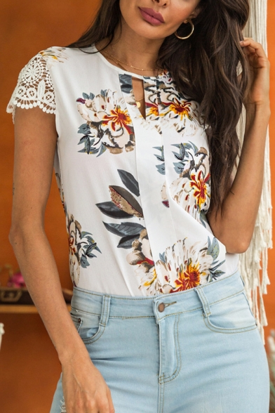 Summer Womens Fancy Floral Print Hollow Lace Sleeve White Blouse