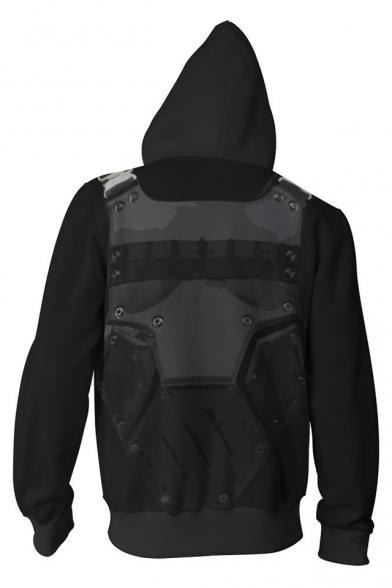 The Punisher Skull Printed Comic Cosplay Costume Long Sleeve Black Zip Up Hoodie