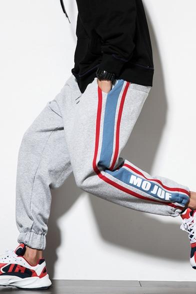 Unisex Trendy Letter Printed Contrast Stripe Side Drawstring Waist Elastic Cuffs Hip Pop Loose Track Pants