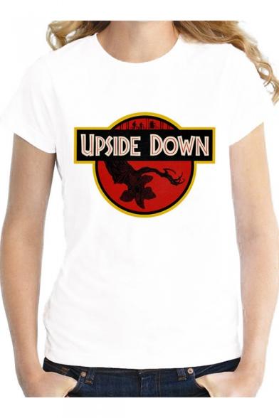 UPSIDE DOWN Demogorgon Print Round Neck Short Sleeve White Tee, LC550186