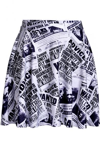 Vintage Monochrome Newspaper Printed Mini A-Line Pleated Skater Skirt, LM543798