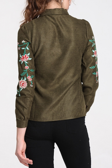 Womens Chic Simple Floral Embroidery Bow-Tied Collar Long Sleeve Vintage Green Shirt