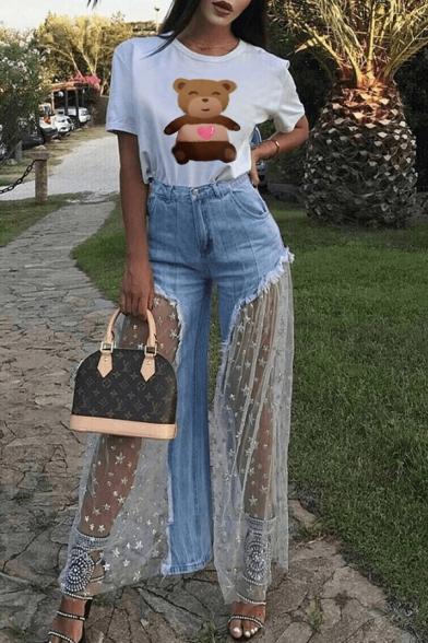 Womens Designer Unique Cool Star Mesh Patched Frayed Hem Light Blue Wide-Leg Jeans