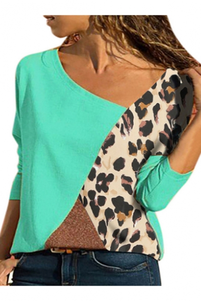 Womens Fancy Colorblock Camo Print Oblique V-Neck Long Sleeve Casual Loose Tee