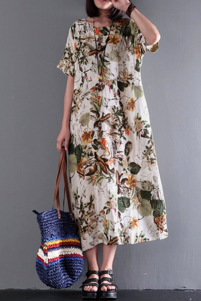 Womens Fancy Floral Pattern Round Neck Short Sleeve Maxi Casual Loose Linen Dress