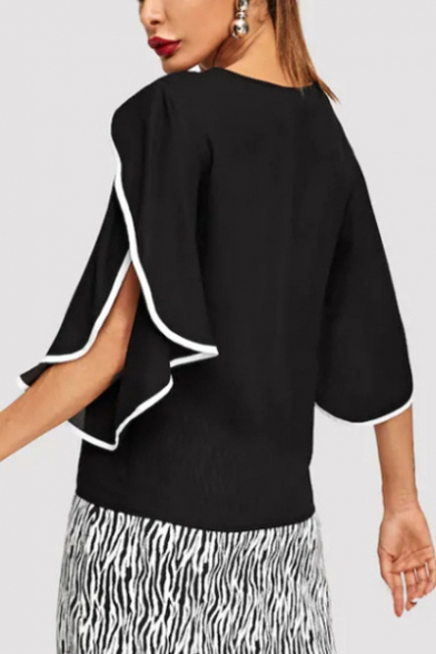 Womens Fashion Trendy Contrast Trim Ruffled Sleeve Casual Chiffon Top