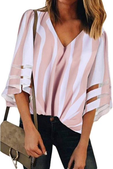 Womens Hot Popular Mesh Panel Bell Sleeve Vertical Stripe Loose Fit V-Neck Blouse Top