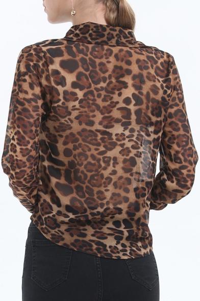Womens New Fashion Leopard Printed Long Sleeve Casual Chiffon Shirt