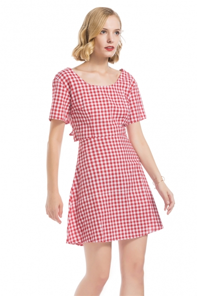 Womens Red Plaid Print Round Neck Short Sleeve Cutout Back Mini A-Line Dress