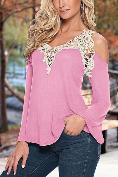 Womens Sexy Hollow Lace Patched Cold Shoulder Long Sleeve V-Neck Casual Tee