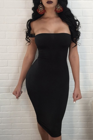 Womens Sexy Hollow Tied Up Back Strapless Plain Midi Bodycon Dress