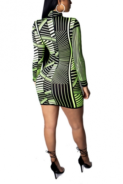 Womens Sexy Night Club Plunging Neck Long Sleeve Green Striped Mini Tight Dress