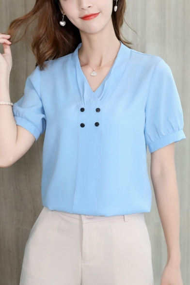 Womens Simple Chic Button Embellished V-Neck Short Sleeve Plain Chiffon Blouse