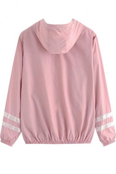 Womens Simple Double Stripe Print Long Sleeve Zip Up Hooded Coat Jacket