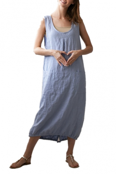 Womens Stylish Scoop Neck Sleeveless Drawstring Hem Plain Light Blue Maxi Linen Tank Dress