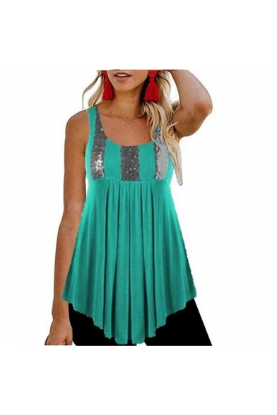 Womens Trendy Sequined Patchwork Scoop Neck Sleeveless Asymmetrical Pleated Tank Top