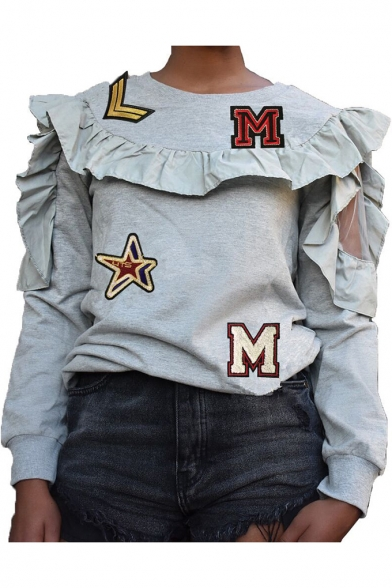 Womens Unique Design Letter Patched Stringy Selvedge Long Sleeve Pullover Sweatshirt LM548010 фото