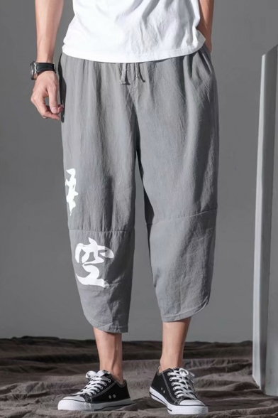Casual Chinese Letter Print Drawstring Waist Cropped Liner Harem Pants for Men