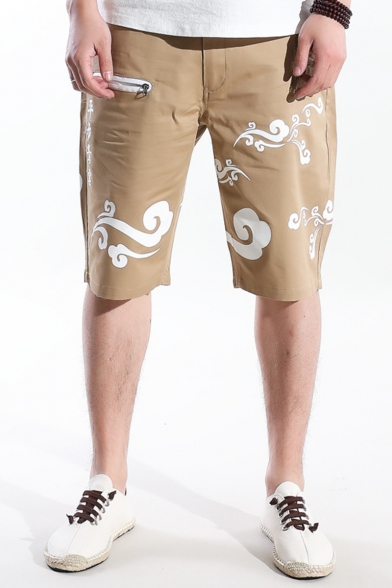 Chinese Style Letter Cloud Printed Crane Embroidery Pattern Zip Pocket Men's Casual Chino Shorts
