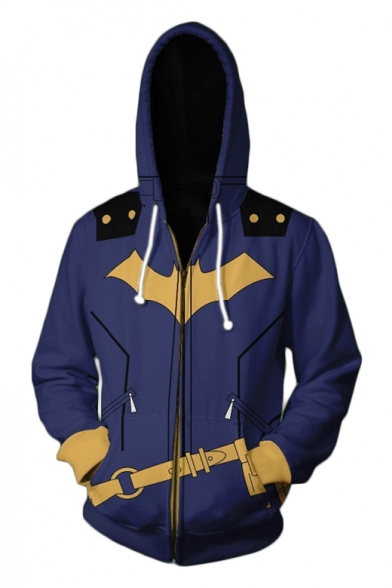 Cool 3D Cosplay Blue Long Sleeve Zip Front Fitted Drawstring Hoodie