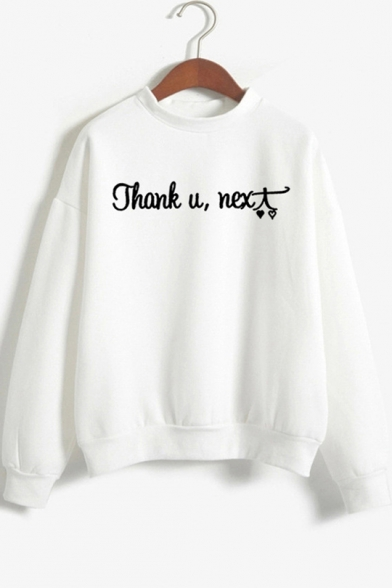 Cool Heart Letter THANK U NEXT Print Mock Neck Long Sleeve Pullover Sweatshirt