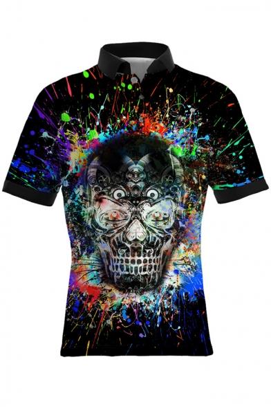 Cool Splash-Ink Skull 3D Pattern Short Sleeve Slim Polo Shirt for Men