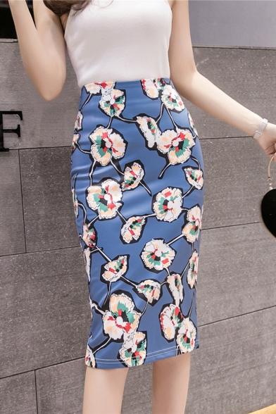 Fast Fashion Girls Causal Blue floral Print Split-Back Midi Bodycon Skirt