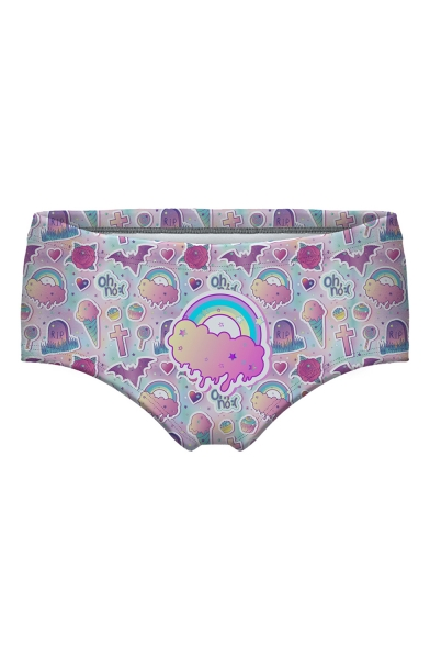Funny Cartoon Ice Cream Rainbow Print Womens Pink Panty Shorts
