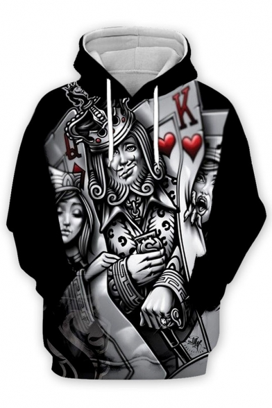 Funny King Queen Poker Card 3D Printed Long Sleeve Casual Unisex Hoodie