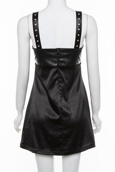 Girls Cool Street Style Studded Straps Sleeveless Cutout Front Mini Black A-Line Dress