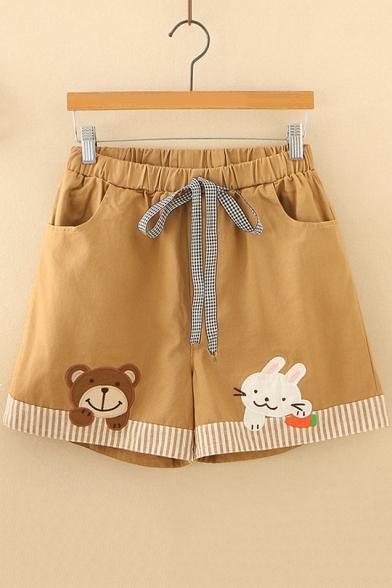 Girls Lovely Cartoon Bear Rabbit Embroidery Drawstring Waist Khaki Casual Shorts