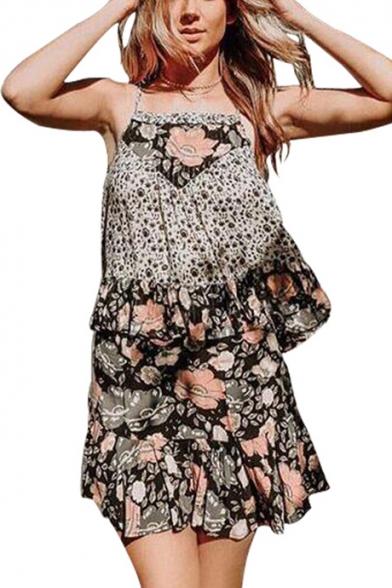Girls Summer Chic Floral Printed Mini A-Line Ruffled Skirt