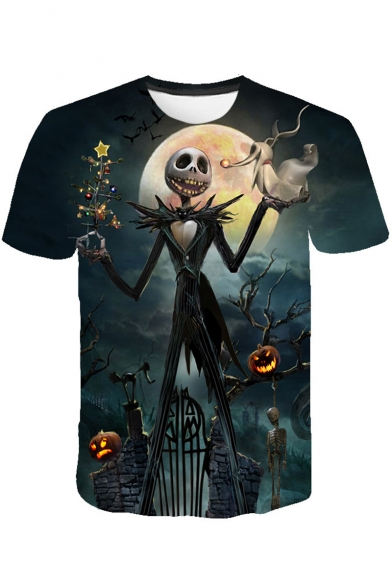 Halloween Jack Skellington 3D Pumpkin Print Short Sleeve Blue T-Shirt