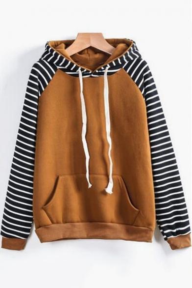 Hot Popular Striped Long Sleeve Womens Regular Fit Sport Loose Hoodie