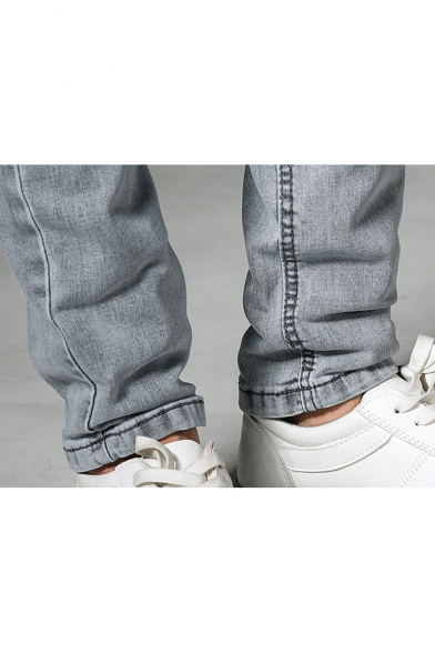 Men's Fashion Light Washed Simple Plain Zip-fly Slim Fit Grey Casual Jeans