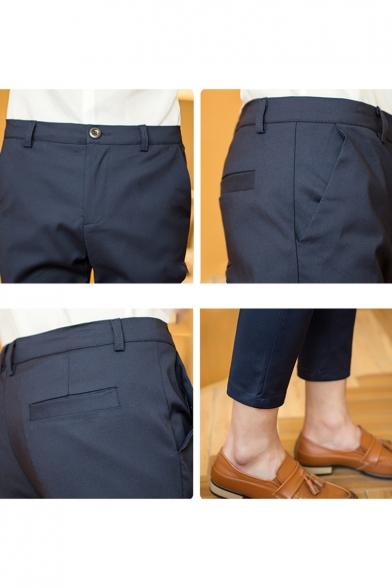 Men's New Fashion Simple Plain Slim Fit Casual Cropped Dress Pants