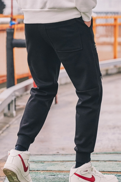 Men's New Stylish Letter Ribbon Patchwork Casual Tapered Track Pants