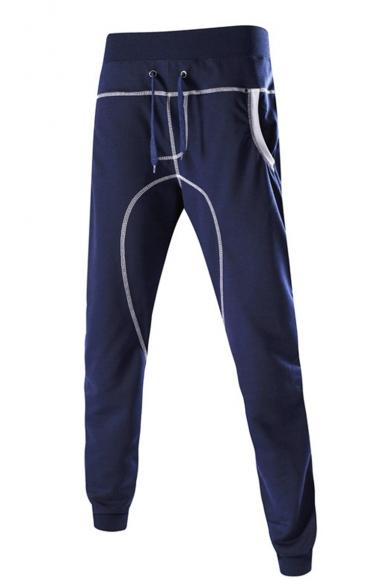 Men's New Stylish Plain Sewing Thread Detail Drawstring Waist Cotton Sweatpants