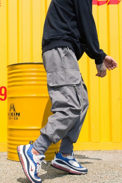 Men's Street Trendy Solid Color Zip Embellished Casual Loose Cargo Pants with Side Pockets