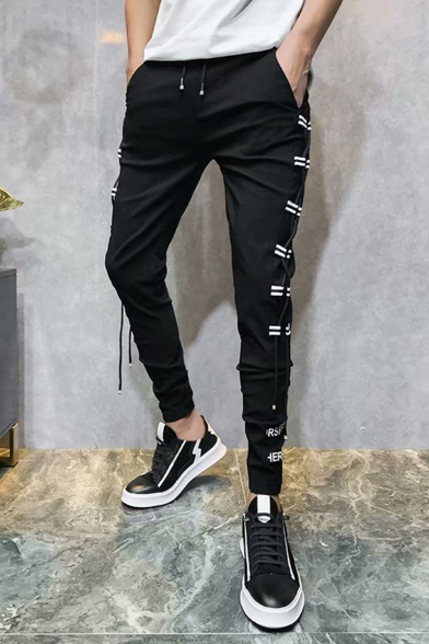 Men's Stylish Letter Printed Crisscross Side Design Drawstring Waist Black Casual Pencil Pants