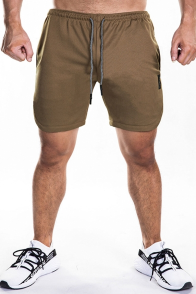 Men's Summer Simple Fashion Letter Printed Drawstring Waist Quick-drying Training Sweat Shorts