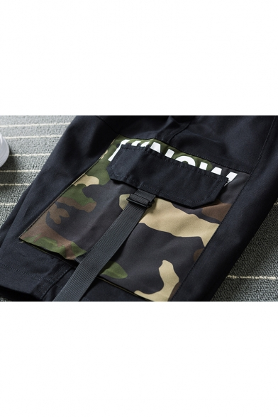 Men's Summer Trendy Camouflage Printed Buckle Strap Flap Pocket Drawstring Waist Casual Cotton Cargo Shorts