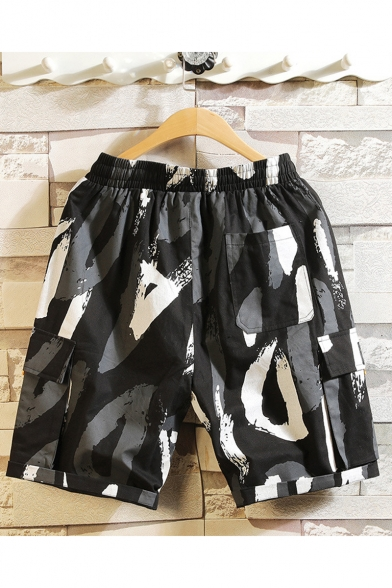 Men's Summer Trendy Camouflage Printed Drawstring Waist Casual Thin Relaxed Shorts