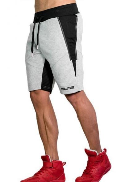 Men's Summer Trendy Colorblock Letter Printed Zipped Pocket Drawstring Waist Sports Sweat Shorts