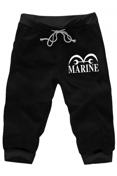 Men's Summer Trendy Letter MARINE Cartoon Printed Drawstring Waist Black Casual Sweat Shorts