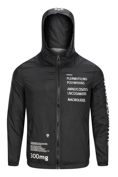 Mens Popular Letter Printed Long Sleeve Zip Up Hooded Sun Protection Jacket Coat