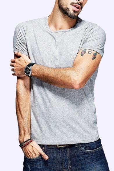 Mens Summer Basic Round Neck Short Sleeve Plain Regular Fit T-Shirt