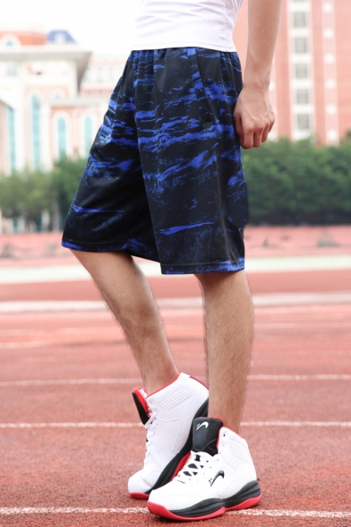 New Fashion Popular Camouflage Printed Zipped Pocket Elastic Waist Loose Fit Casual Quick-drying Basketball Shorts