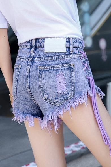 New Stylish Womens Summer Fashion Lace-Up Side Button Front Raw Hem Denim Shorts